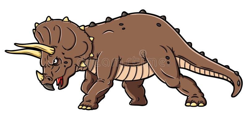 Historieta del vector que carga el Triceratops enojado stock de ilustración