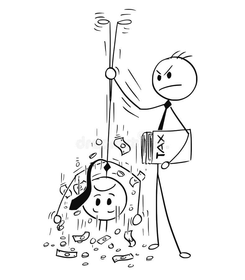 Historieta del vendedor Shaking Out Money de los impuestos para el impuesto del hombre de negocios ilustración del vector