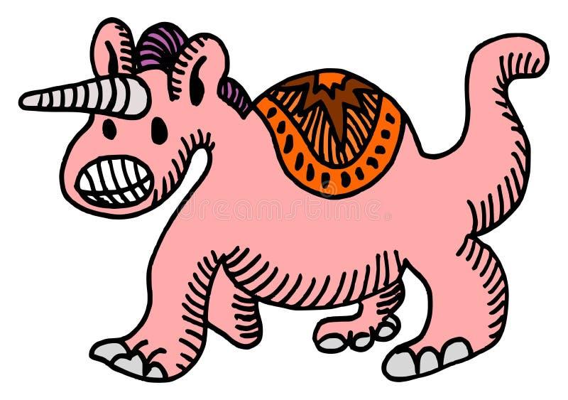 Historieta dibujada mano del garabato de la cruz entre un dinosaurio y un unicornio stock de ilustración