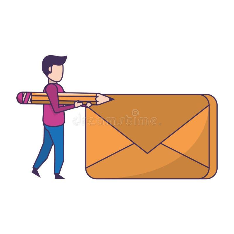 Historieta digital de la tarjeta del correo electrónico ilustración del vector