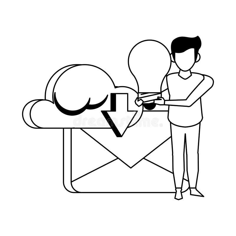 Historieta digital de la tarjeta del correo electrónico en blanco y negro libre illustration