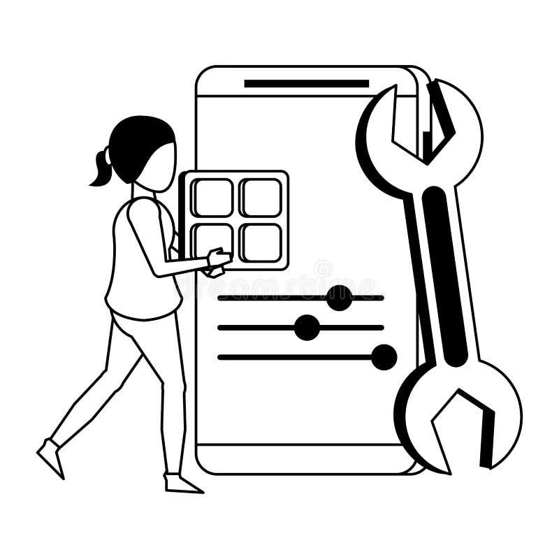 Historieta digital del hardware de la web de la tecnología en blanco y negro stock de ilustración