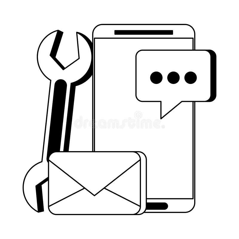Historieta digital del hardware de la web de la tecnología en blanco y negro ilustración del vector