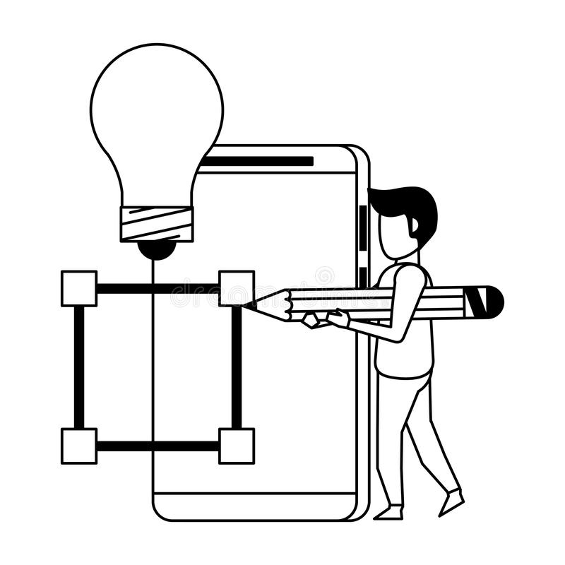 Historieta digital del hardware de la web de la tecnología en blanco y negro libre illustration