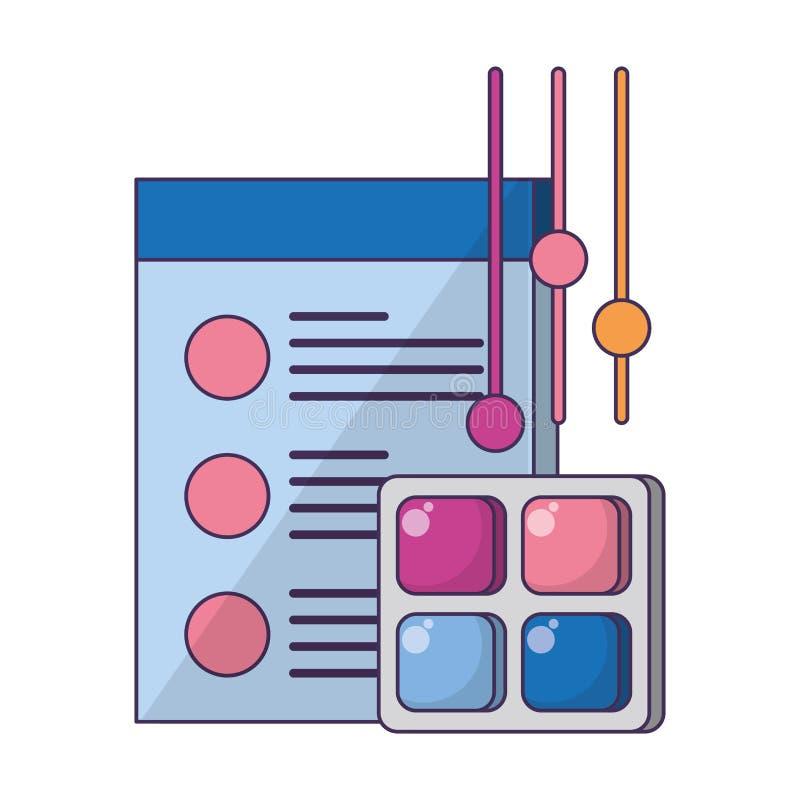 Historieta digital del hardware de la web de la tecnología ilustración del vector