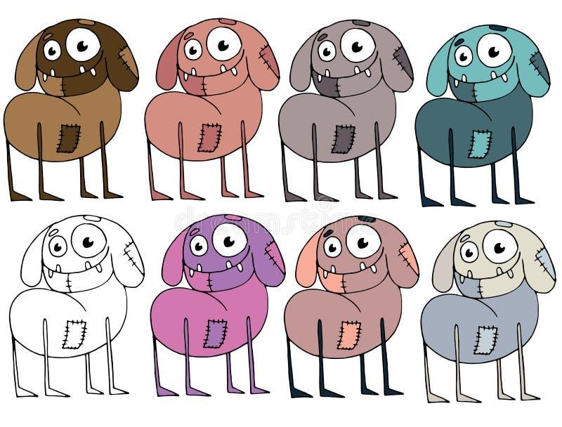 Historieta divertida coloreada para escribir a extranjeros hechos a mano del monstruo del garabato del drenaje el perro del zombi stock de ilustración