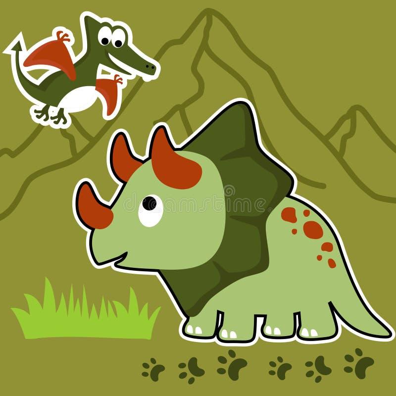 Historieta divertida de los dinosaurios en fondo de los volcanes ilustración del vector