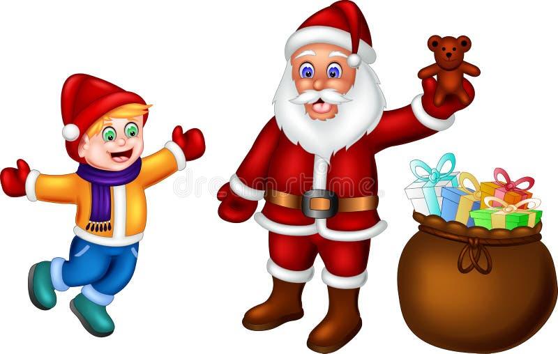 Historieta divertida de Papá Noel que se coloca de donante del regalo con la risa ilustración del vector