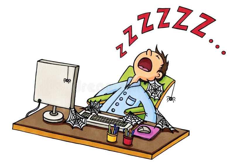 Historieta de un dormido caido hombre delante del ordenador ilustración del vector