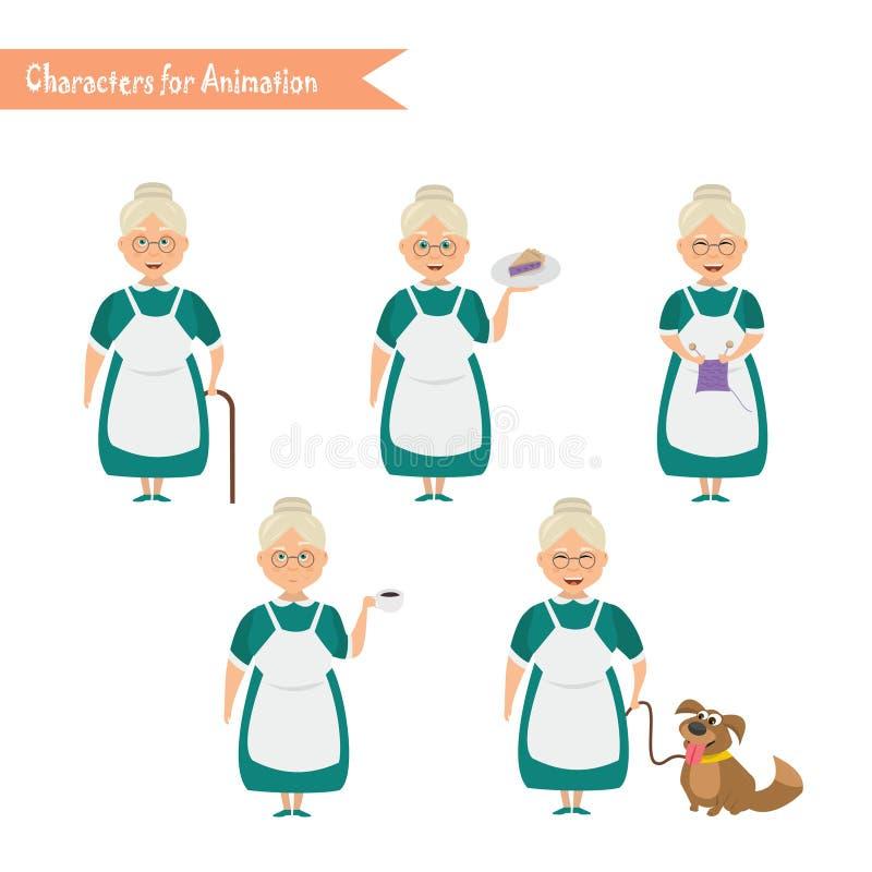 Historieta divertida del ama de casa de la abuela stock de ilustración