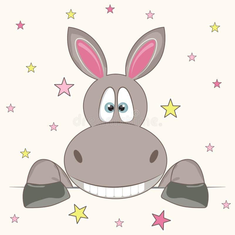 Historieta divertida del carácter del burro de la cara Tarjeta de felicitaci?n ilustración del vector
