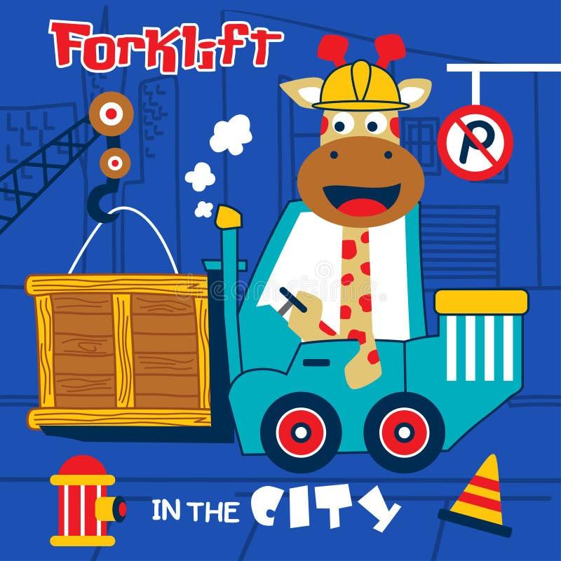 Historieta divertida del conductor de la carretilla elevadora de Giraffethe, ejemplo del vector libre illustration