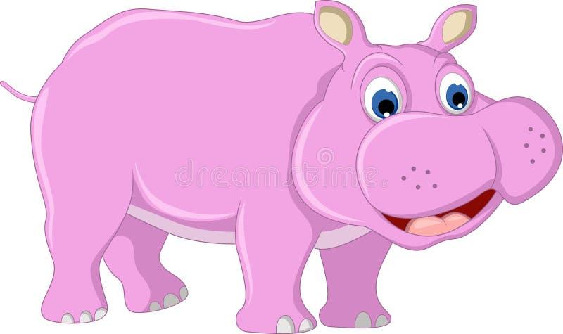 Historieta divertida del hipopótamo stock de ilustración