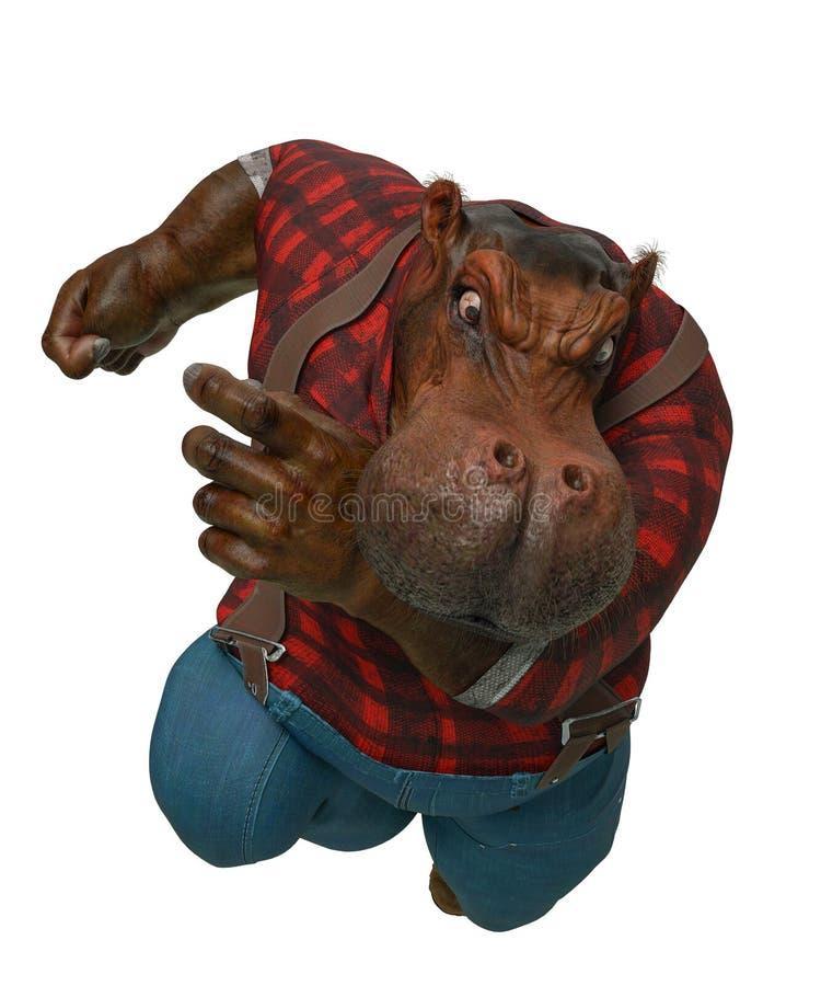 Historieta divertida del hipopótamo en el fondo blanco ilustración del vector