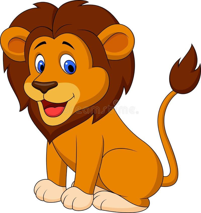Historieta divertida del león stock de ilustración