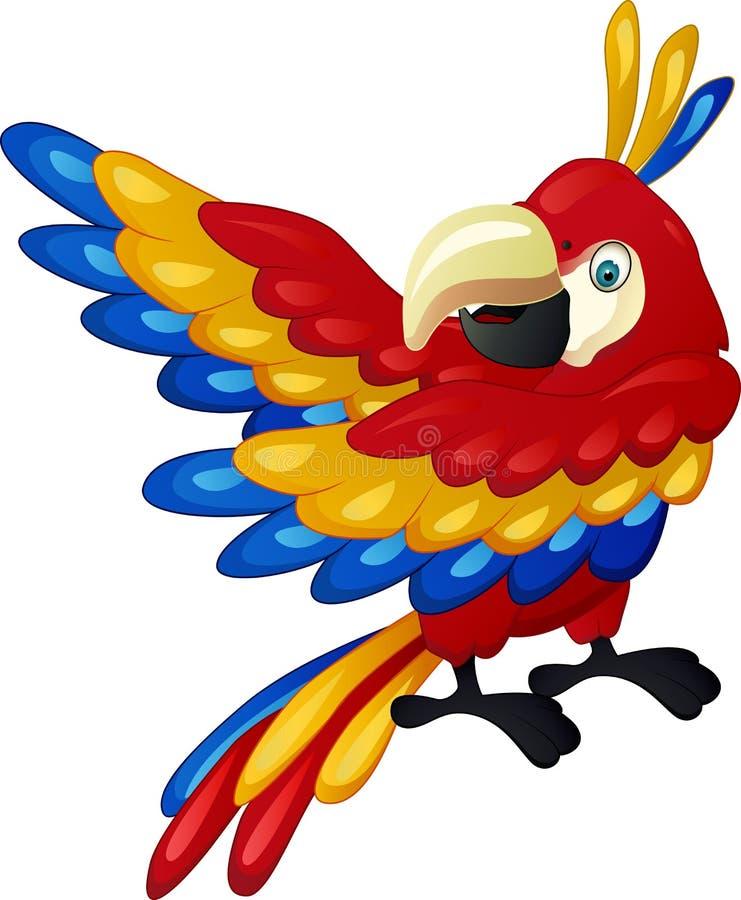 Historieta divertida del macaw stock de ilustración