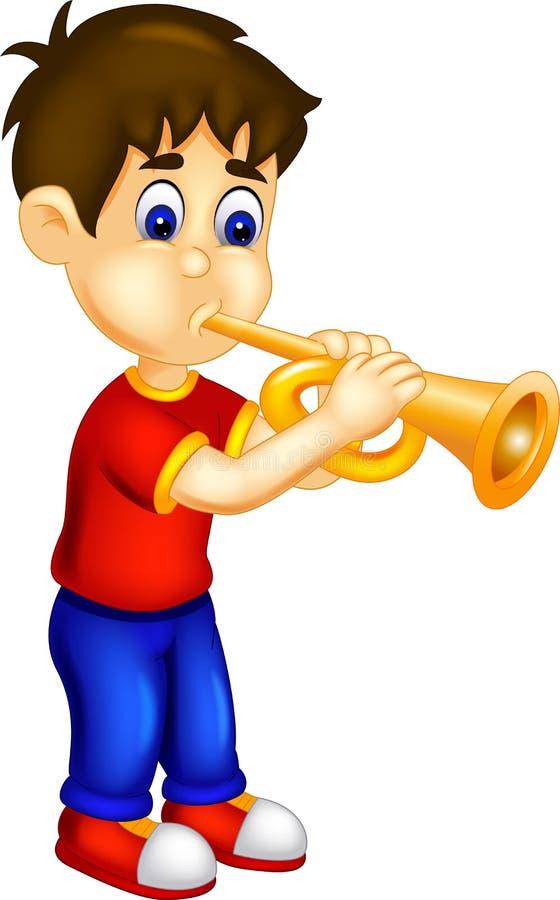Historieta divertida del muchacho que se coloca que toca la trompeta con sonrisa stock de ilustración