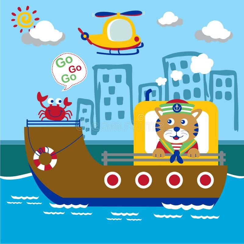 Historieta divertida del sailorman animal, ejemplo del vector stock de ilustración