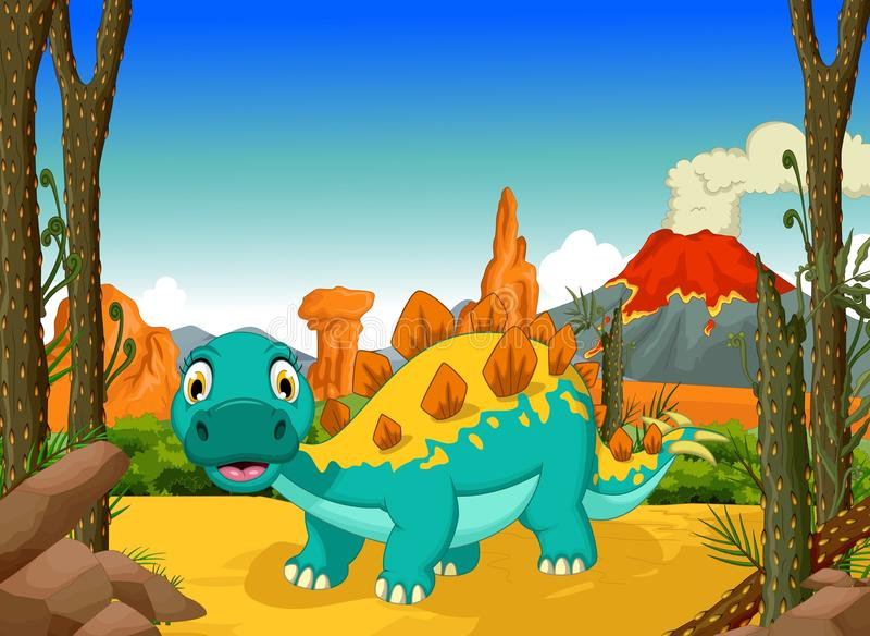 Historieta divertida del stegosaurus con el fondo del paisaje del volcán stock de ilustración
