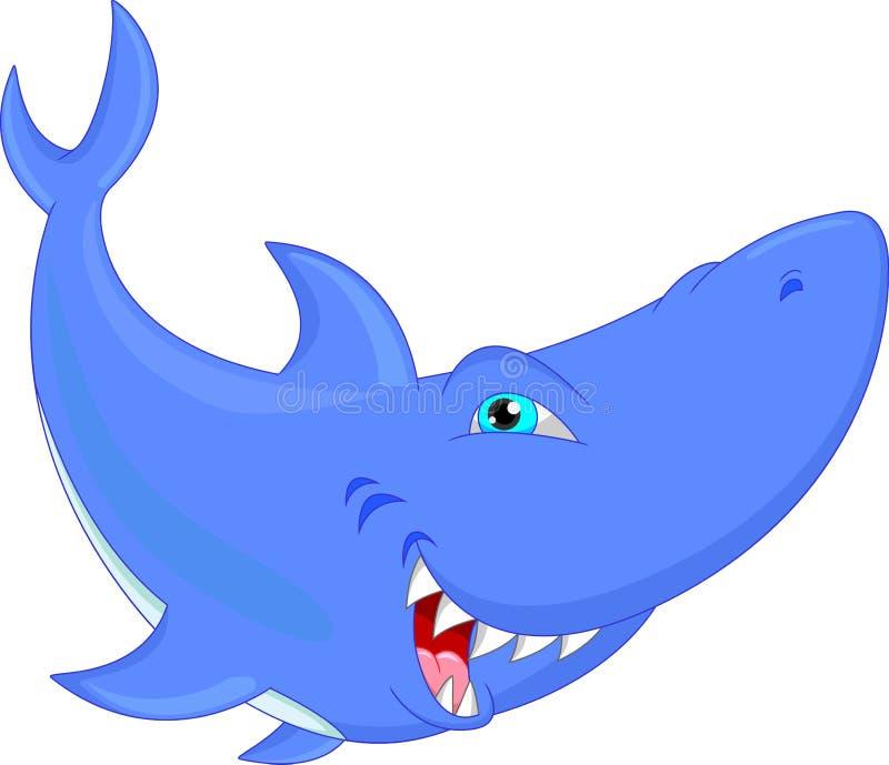 Historieta divertida del tiburón stock de ilustración