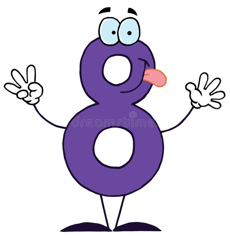 Historieta divertida Numbers-8 stock de ilustración