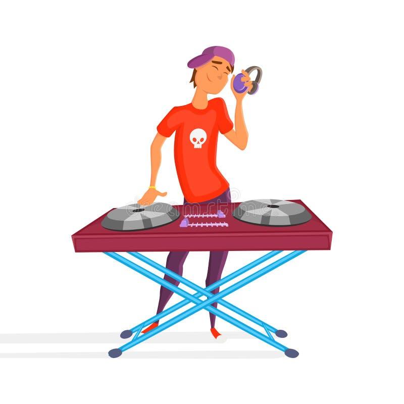 Historieta DJ adolescente Muchacho con la bola Auriculares que llevan jovenes de DJ y rasguño de un expediente en la placa girato stock de ilustración