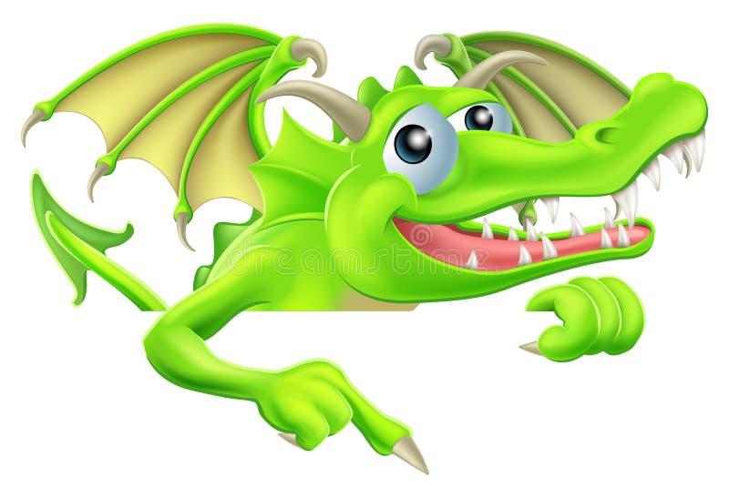 Historieta Dragon Pointing Down stock de ilustración