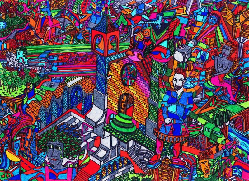 Historieta drenada mano colorida stock de ilustración