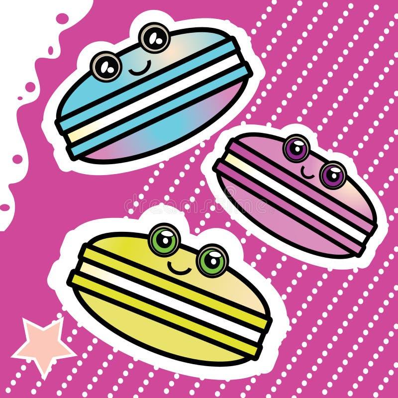 Historieta dulce Macaron divertido de Kawai en un rosa ilustración del vector