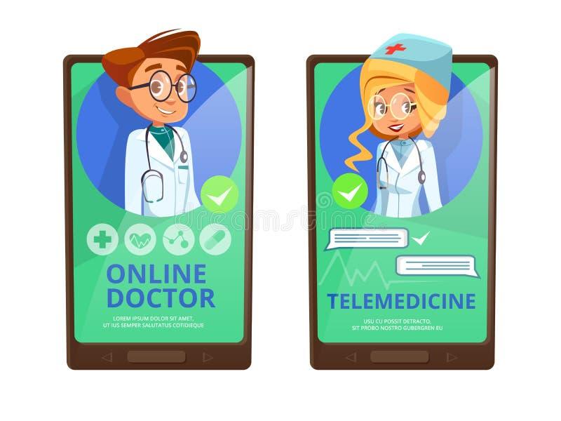 Historieta en línea del vector de la telemedicina del doctor stock de ilustración