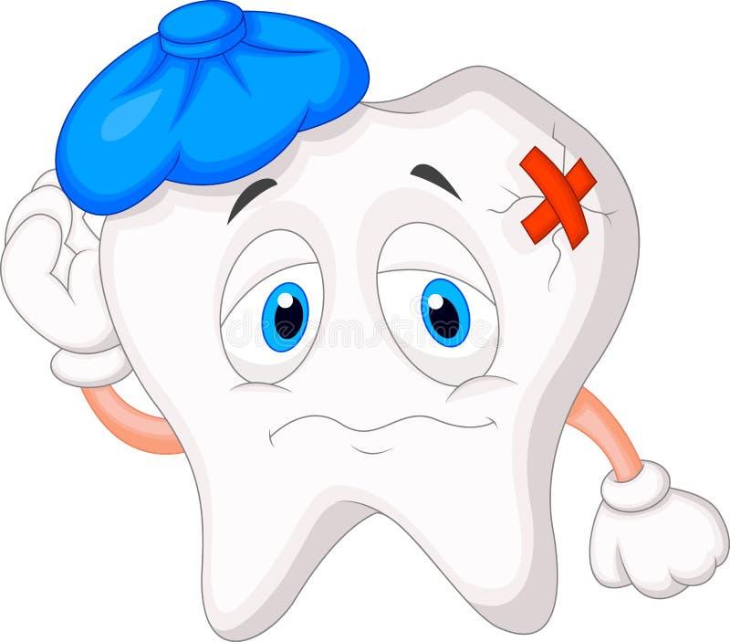Historieta enferma del diente stock de ilustración