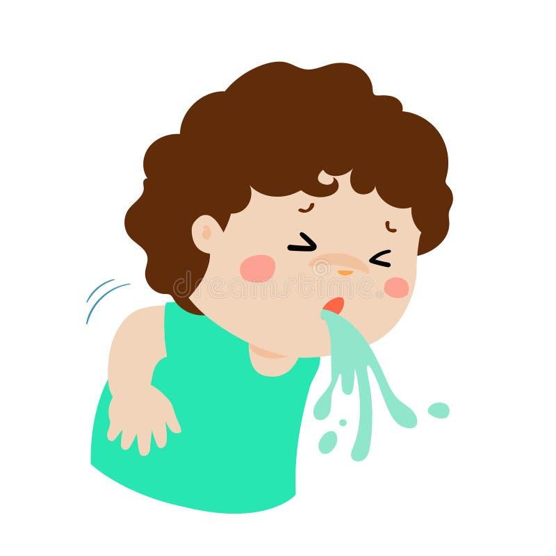 Historieta enferma el vomitar del muchacho stock de ilustración