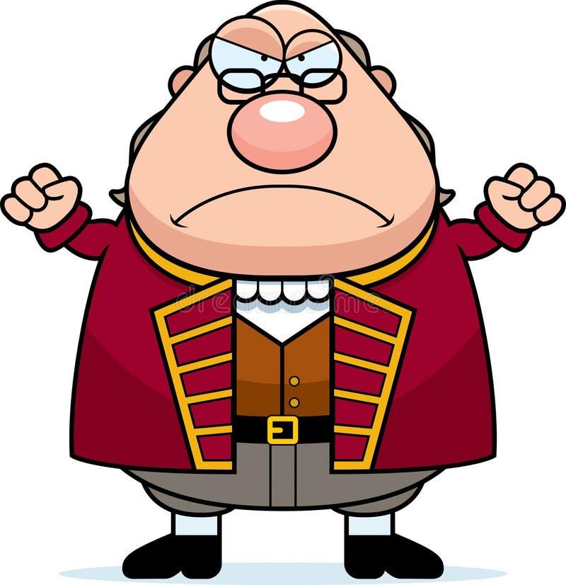 Historieta enojada Ben Franklin stock de ilustración