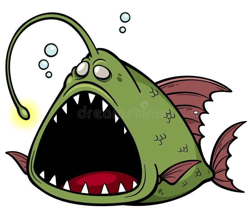 Historieta enojada de los pescados stock de ilustración