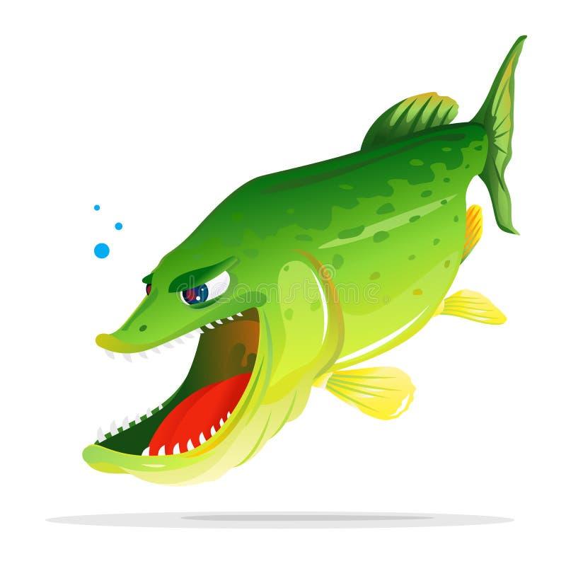 Historieta enojada de Pike ilustración del vector