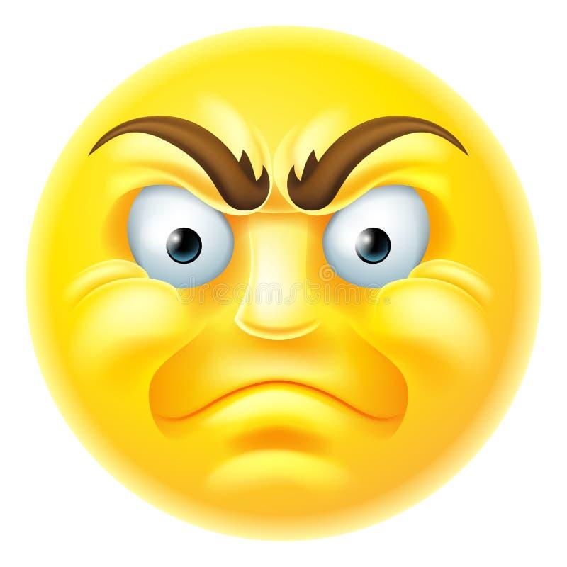 Historieta enojada del Emoticon de Emoji ilustración del vector