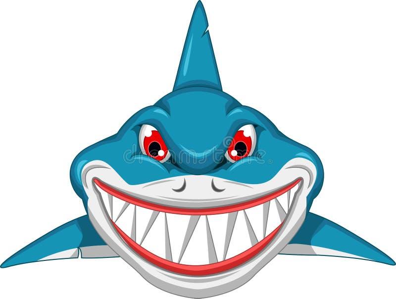 Historieta enojada del tiburón ilustración del vector