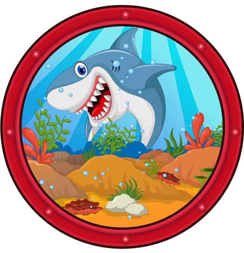 Historieta enojada del tiburón stock de ilustración