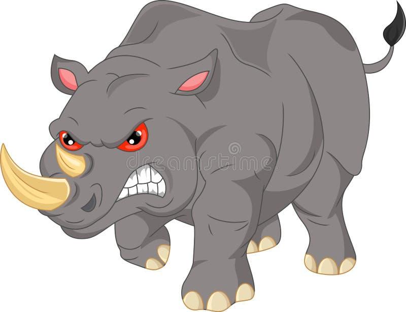 Historieta enojada linda del rinoceronte libre illustration