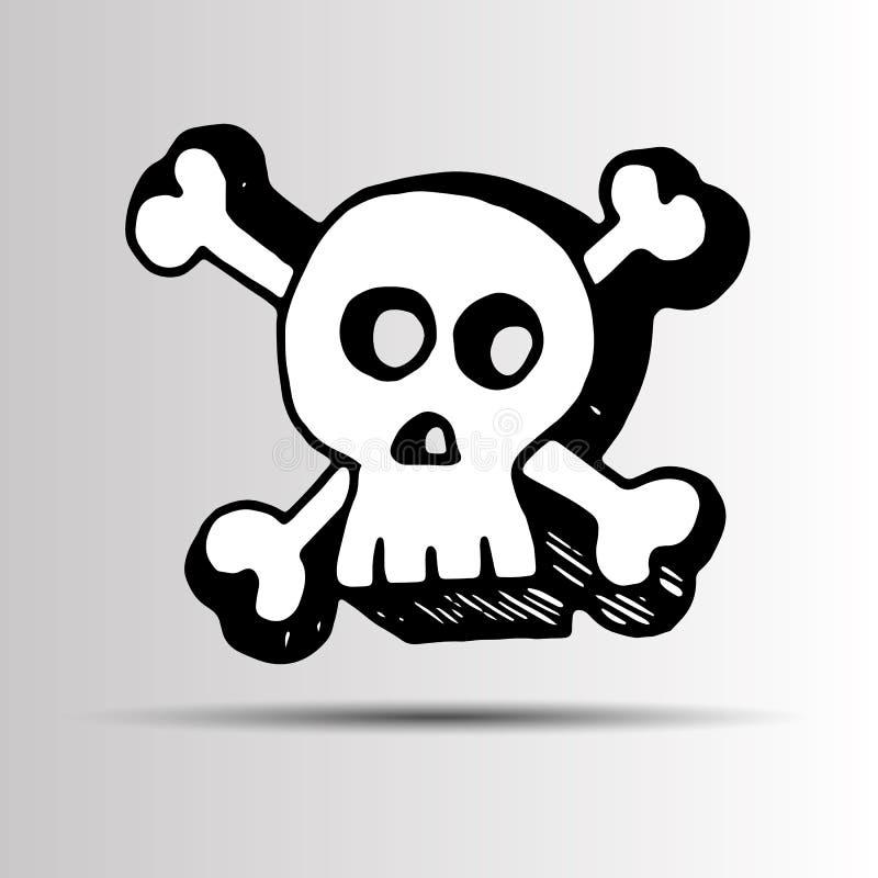 Historieta esquelética muerta del ejemplo de Halloween del vector del cráneo stock de ilustración