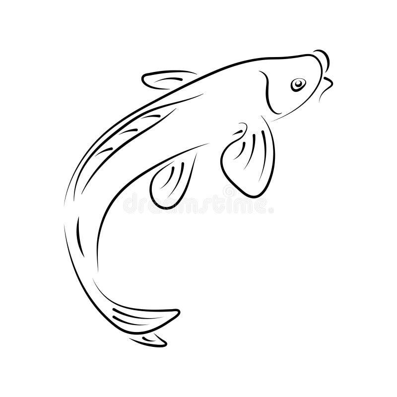 Historieta exhausta del logotipo del vector de la carpa del koi del car?cter del extracto de la mano japonesa de la tinta Ilustra stock de ilustración
