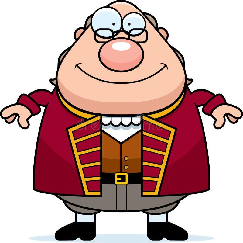 Historieta feliz Ben Franklin stock de ilustración