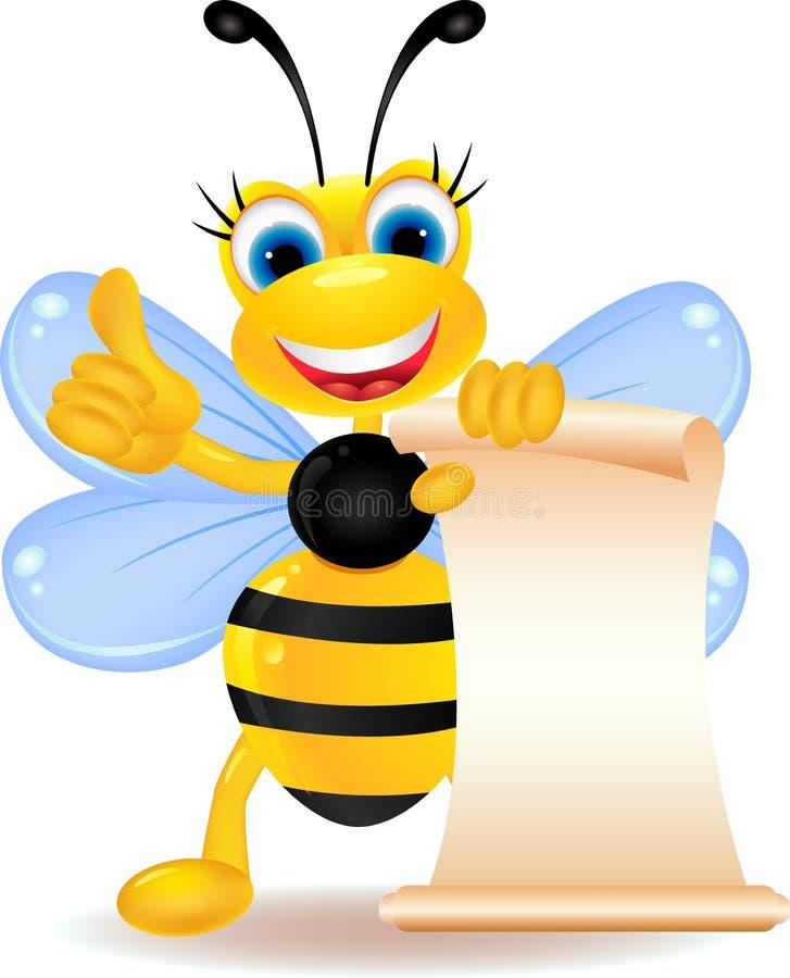 Historieta feliz de la abeja con la muestra en blanco stock de ilustración