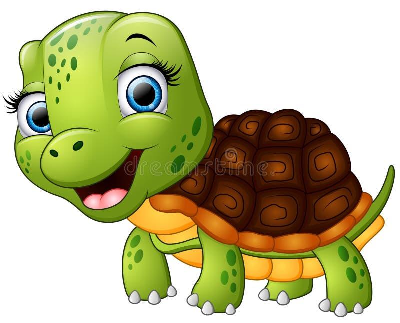Historieta feliz de la tortuga aislada en el fondo blanco stock de ilustración