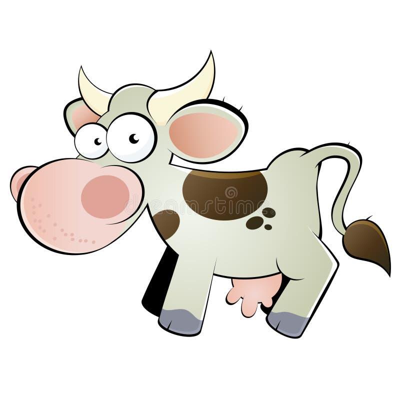 Historieta feliz de la vaca ilustración del vector