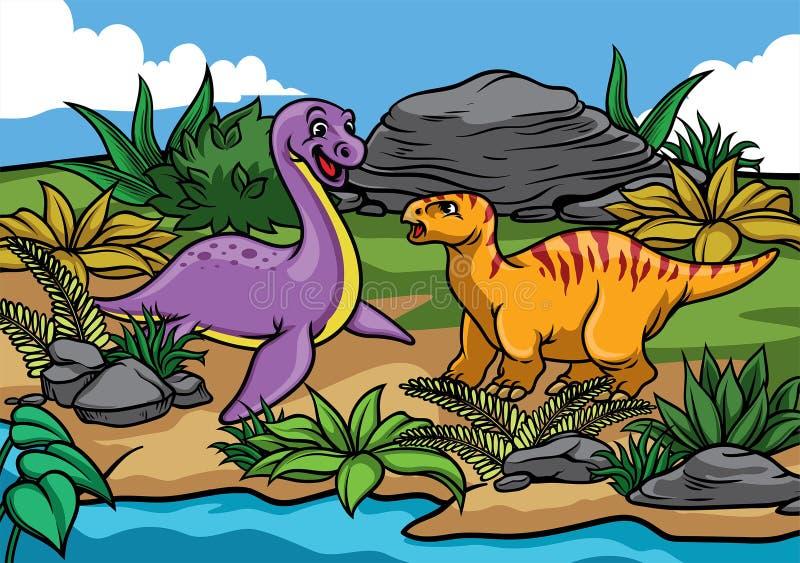 Historieta feliz de los dinosaurios en la naturaleza libre illustration