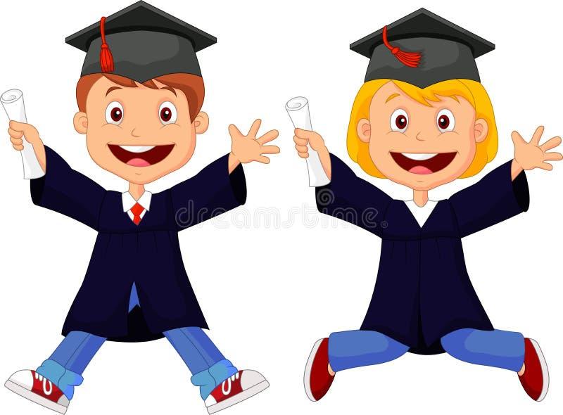Historieta feliz de los graduados stock de ilustración