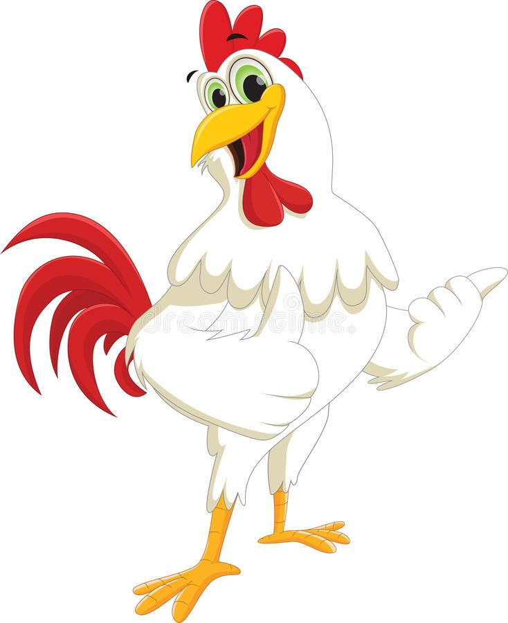 Historieta feliz del gallo que da el pulgar para arriba stock de ilustración