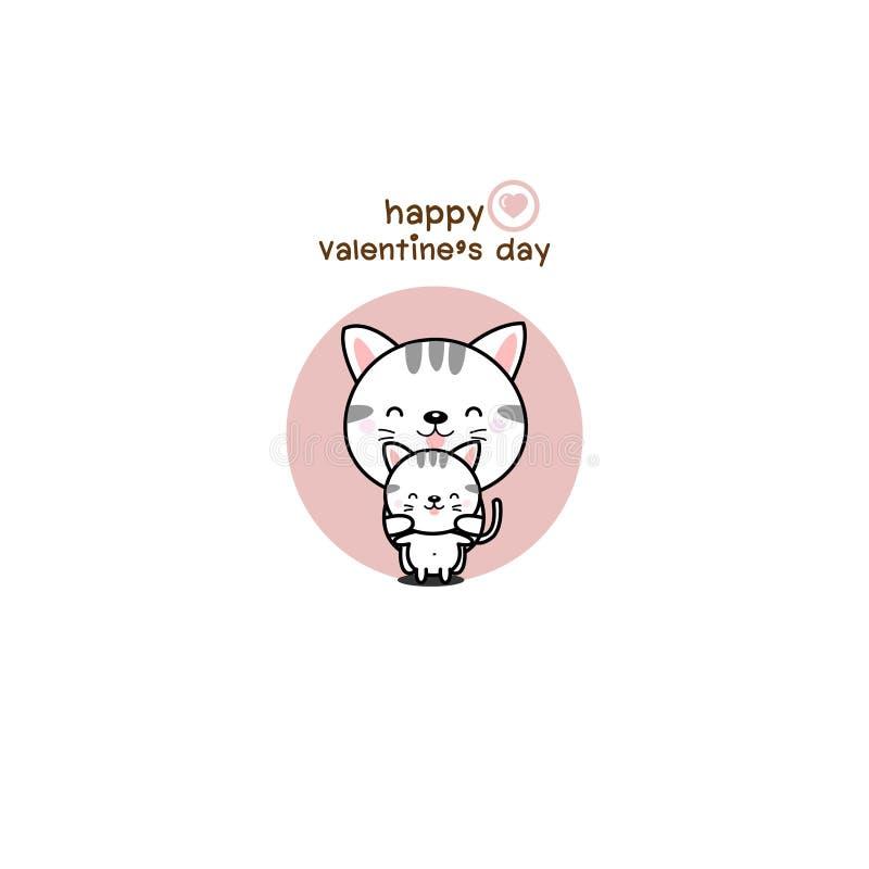 Historieta feliz del gato del amor de los pares de d?a de San Valent?n ilustración del vector