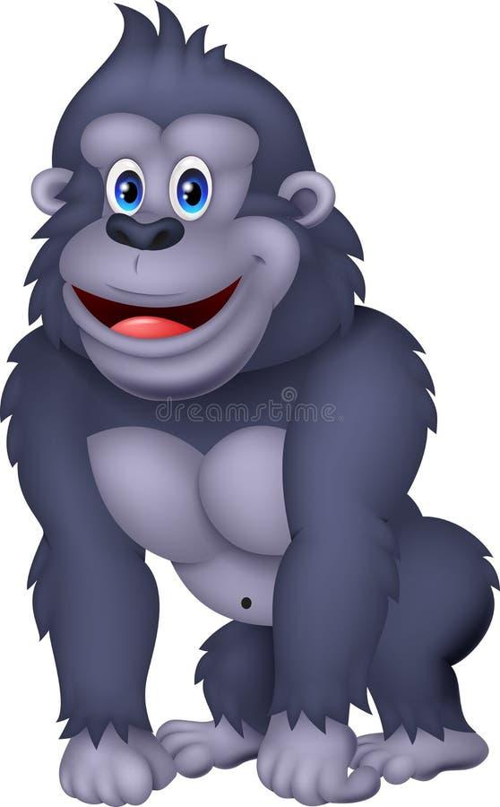 Historieta feliz del gorila stock de ilustración